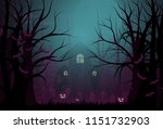 happy halloween background and... | Shutterstock .eps vector #1151732903