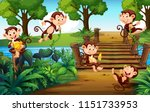 a group of monkey  at the park... | Shutterstock .eps vector #1151733953