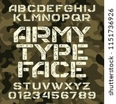 army stencil alphabet font.... | Shutterstock .eps vector #1151736926