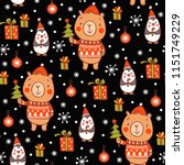 cartoon vector new year texture.... | Shutterstock .eps vector #1151749229