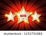 retro light sign. three gold... | Shutterstock . vector #1151751083