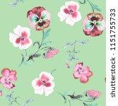 wild pansy watercolor...   Shutterstock . vector #1151755733