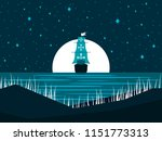 sailing ship at night against... | Shutterstock .eps vector #1151773313