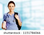nurse student with books and... | Shutterstock . vector #1151786066