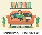 girl reading book on sofa at... | Shutterstock .eps vector #1151789150