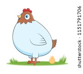 a happy cartoon hen with egg.... | Shutterstock .eps vector #1151791706