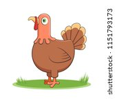 a happy cartoon turkey. comic... | Shutterstock .eps vector #1151793173