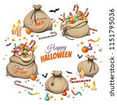 bags of  olorful halloween... | Shutterstock .eps vector #1151795036