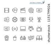 cinema line icons. editable...   Shutterstock .eps vector #1151799026