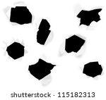 closeup of a dark holes on... | Shutterstock . vector #115182313