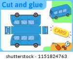 blue minibus paper model. small ... | Shutterstock .eps vector #1151824763