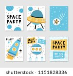 space party. set of card... | Shutterstock .eps vector #1151828336