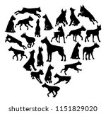 a boxer or similar dog heart... | Shutterstock .eps vector #1151829020