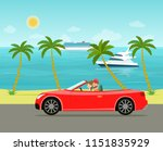 funny  couple driving in... | Shutterstock .eps vector #1151835929