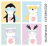 vector postcard collection with ... | Shutterstock .eps vector #1151841320