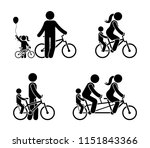 stick figure family riding... | Shutterstock .eps vector #1151843366