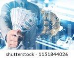 businessmen hold dollars.gold...   Shutterstock . vector #1151844026
