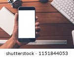 hand use smart phone with blank ...   Shutterstock . vector #1151844053