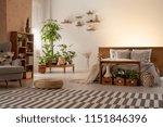 warm bedroom interior with... | Shutterstock . vector #1151846396
