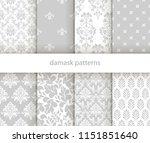 set of vector elegant damask... | Shutterstock .eps vector #1151851640