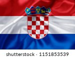 croatia waving and closeup flag ... | Shutterstock . vector #1151853539