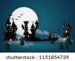 castle halloween banner... | Shutterstock .eps vector #1151854739