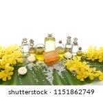 spa set on banana leaf with... | Shutterstock . vector #1151862749