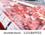 meat displayed for sale in... | Shutterstock . vector #1151869553