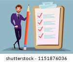 businessman holding pencil at... | Shutterstock .eps vector #1151876036