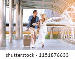 young asian couple walking with ... | Shutterstock . vector #1151876633