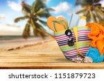 bag  flip flops on a tropical... | Shutterstock . vector #1151879723