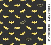 seamless pattern with bats.... | Shutterstock .eps vector #1151890859