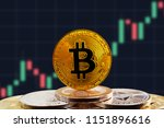bitcoin btc on stack of... | Shutterstock . vector #1151896616