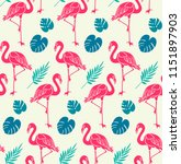 flamingos and monstera leaves... | Shutterstock .eps vector #1151897903