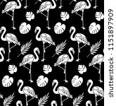 seamless pattern flamingos and... | Shutterstock .eps vector #1151897909