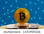 bitcoin btc on stack of... | Shutterstock . vector #1151905226
