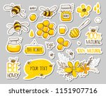 set of stickers with cute bees  ... | Shutterstock .eps vector #1151907716