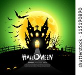 happy halloween house scary on... | Shutterstock .eps vector #115190890