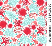marine seamless pattern repeat... | Shutterstock .eps vector #1151910110