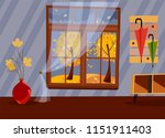 window with a view of yellow... | Shutterstock .eps vector #1151911403