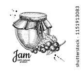 red currant  jam glass jar... | Shutterstock .eps vector #1151913083
