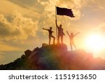 silhouettes of happy three... | Shutterstock . vector #1151913650