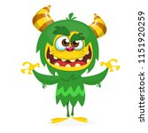 cute cartoon monster. vector... | Shutterstock .eps vector #1151920259