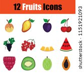 fruit icon set. color  design.... | Shutterstock .eps vector #1151921093