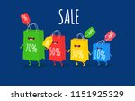 funny shopping bag with... | Shutterstock .eps vector #1151925329