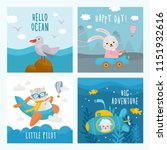 set of beautiful childish card. ... | Shutterstock .eps vector #1151932616
