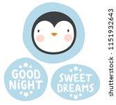 penguin sticker  good night and ... | Shutterstock .eps vector #1151932643