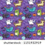 halloween seamless pattern with ... | Shutterstock .eps vector #1151932919