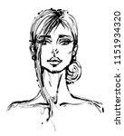 beautiful woman face hand drawn ...   Shutterstock .eps vector #1151934320