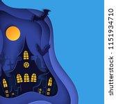 paper art halloween night...   Shutterstock .eps vector #1151934710